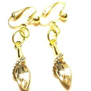 """1.5"""" Gold Clear Crystal Clipon Earrings"""